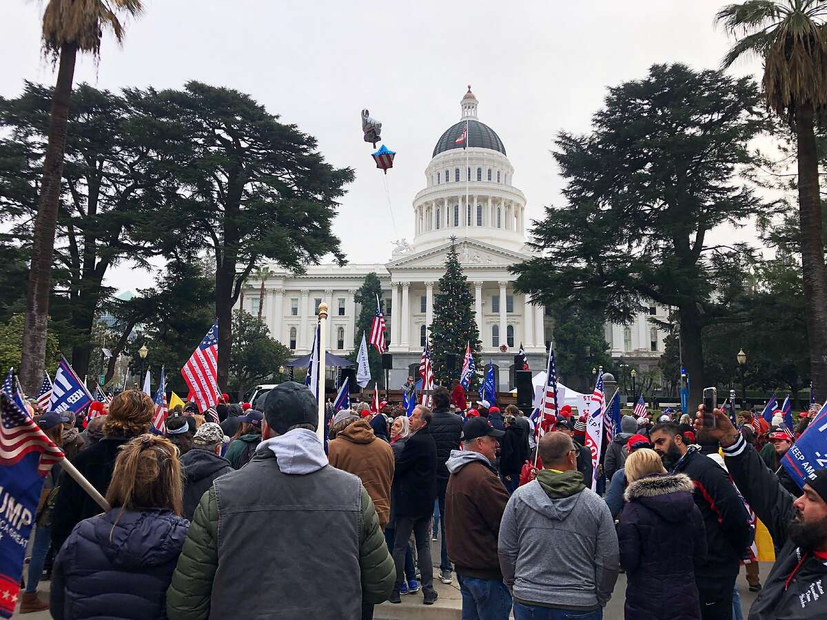 Hundreds of pro-Trump demonstrators gather outside the California Capitol building in Sacramento on Jan. 6.