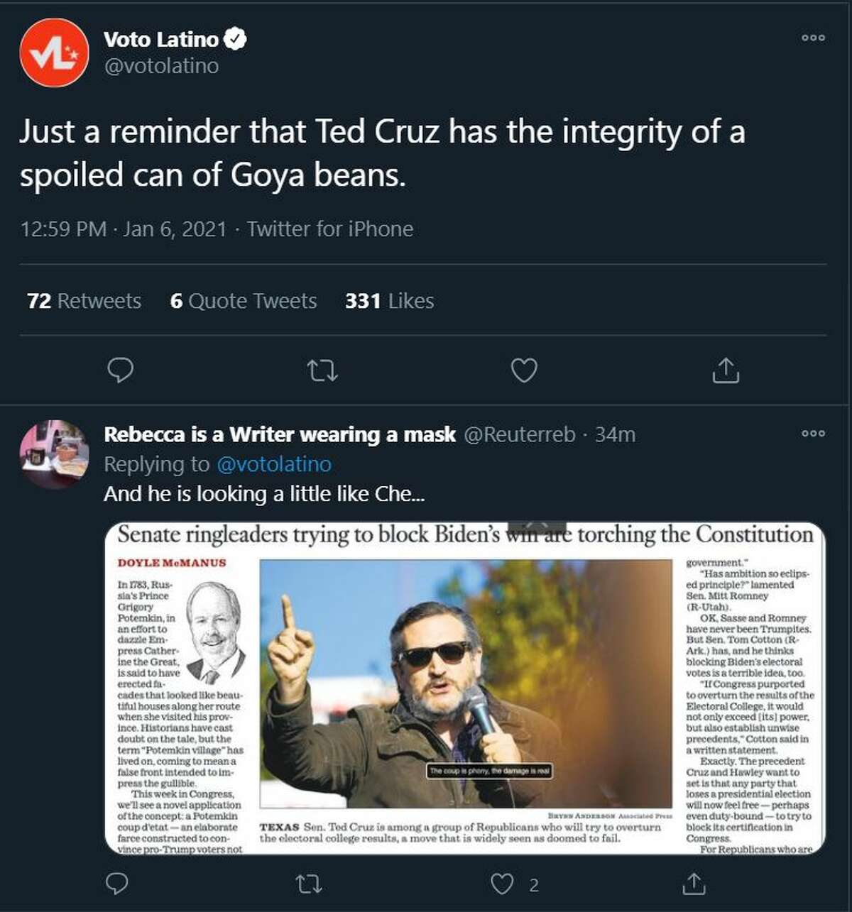 @VoteLatino compared Cruz to Goya as one user said he bore resemblance to Cuban revolutionary, Che Guevarra.