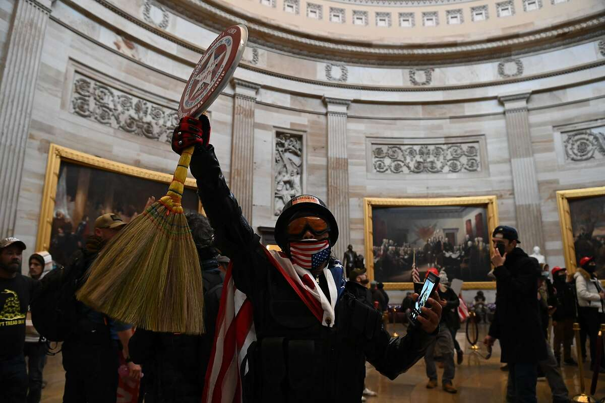 Supporters of President Donald Trump occupy the U.S. Capitol's rotunda on Jan. 6, 2021, in Washington, D.C.