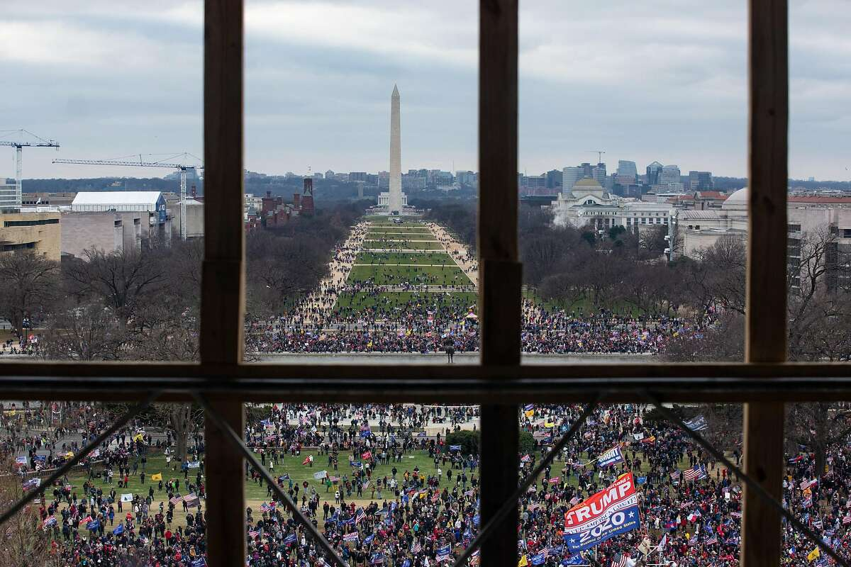 A crowd of Trump supporters gather outside as seen from inside the U.S. Capitol on January 6, 2021 in Washington, DC.