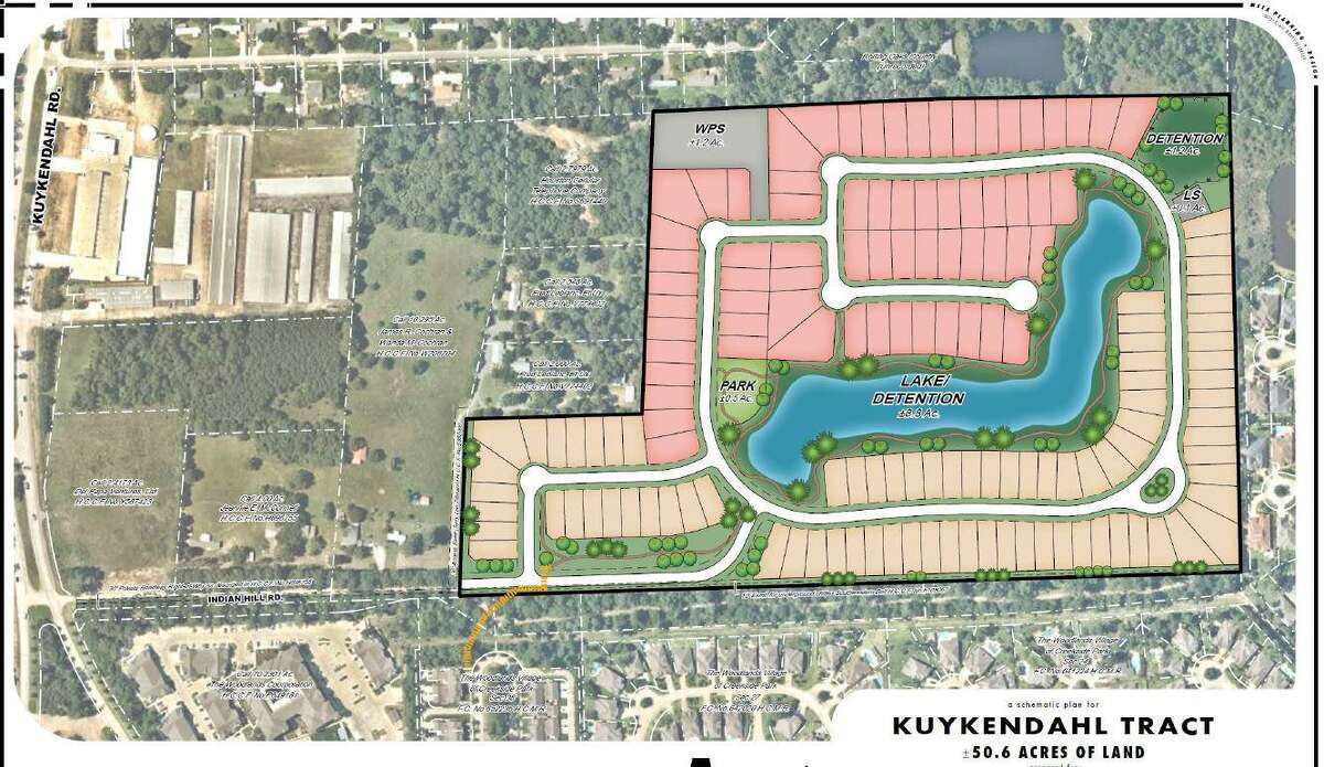 This plan shows the altered development of more than 50 acres annexed by The Woodlands in 2020. The land was at first slated for a senior care home, a small office complex and 17 acres of senior citizen apartments. However, those plans were abandoned in 2019 and after the land was acquired by home builders, plans for 140 homes were approved in 2020.