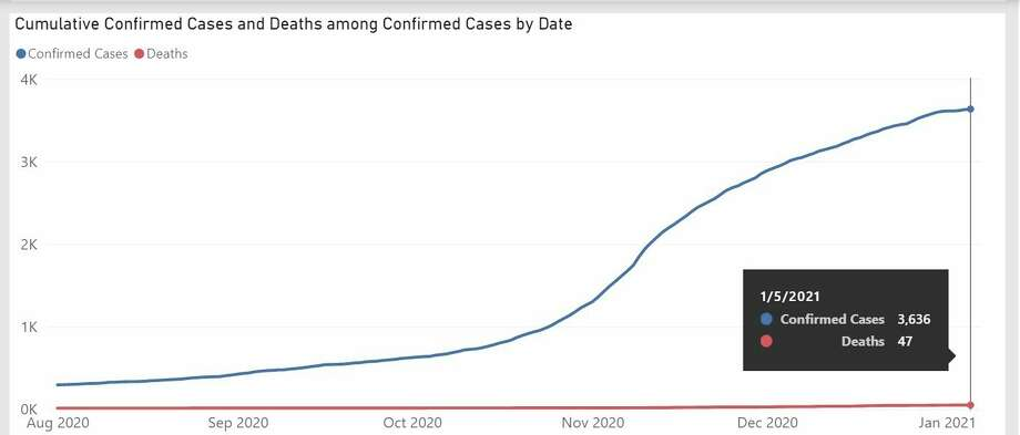 A screenshot of confirmed cases and deaths in Midland County from Aug. 1, 2020, to Jan. 5, 2021. (Screenshot/Michigan.gov)