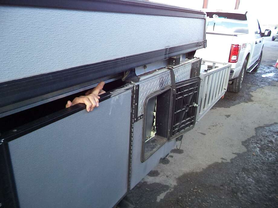 U.S. Border Patrol agents said there were 20 people inside this camper trailer. All were determined to be immigrants who had crossed the border illegally. Photo: Courtesy Photo /U.S. Border Patrol