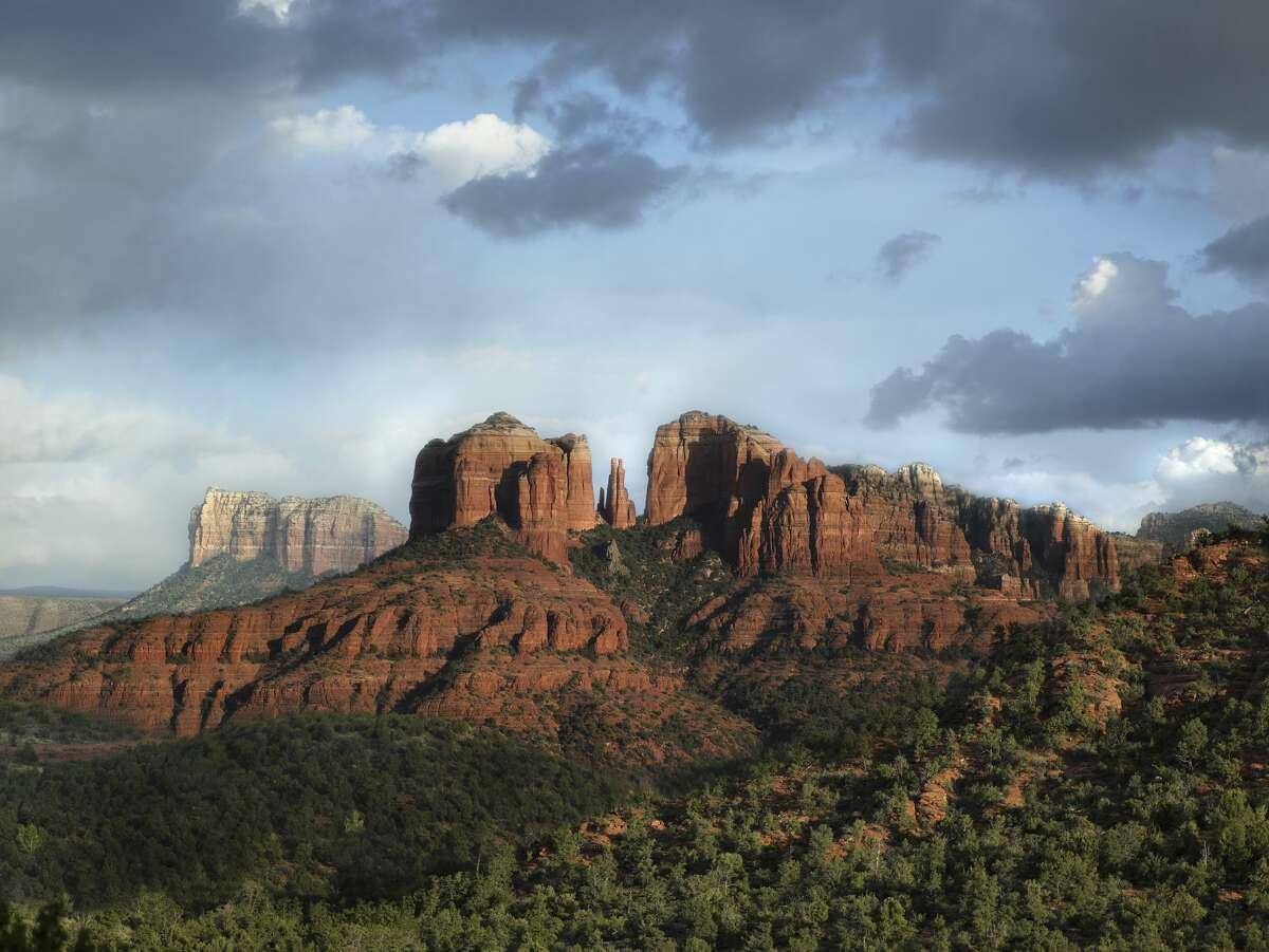 Arizona, Sedona, rock formation at dusk.