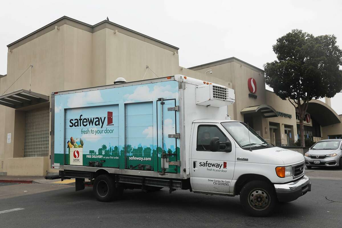 A Safeway delivery truck outside a store on Market Street in San Francisco.