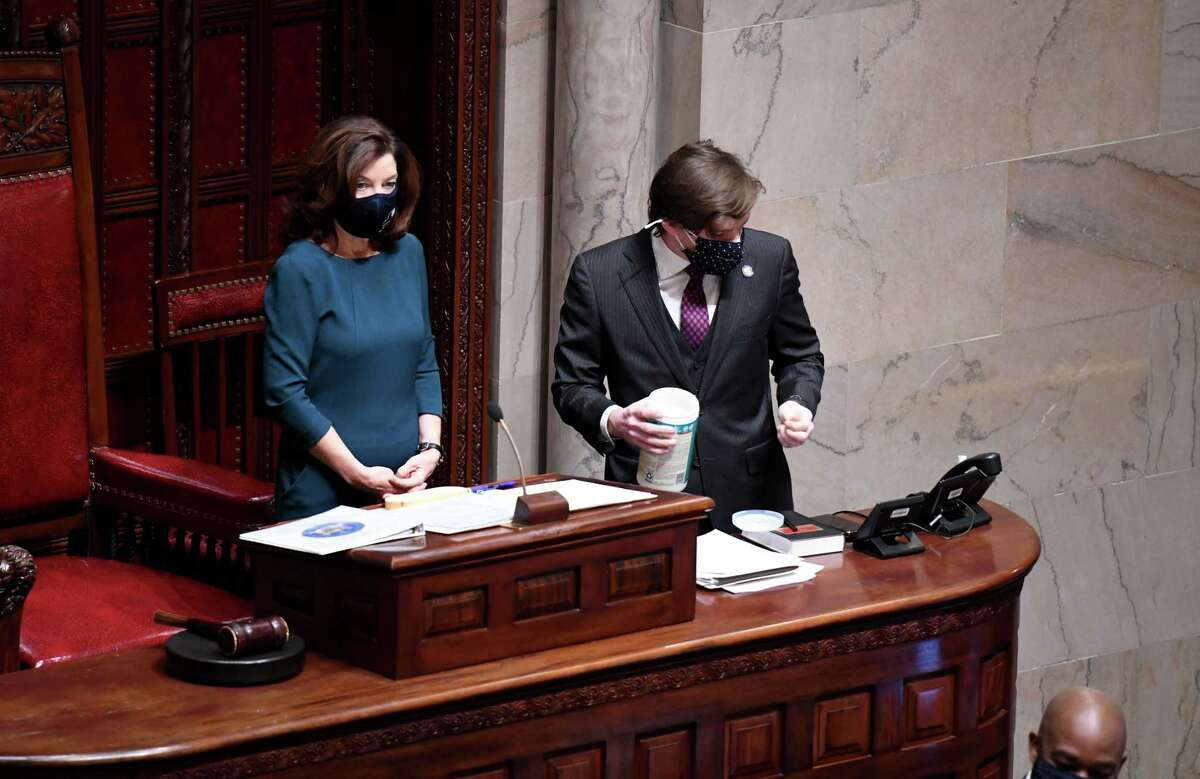 A package of sanitizer wipes are opened as Lt. Gov. Kathy Hochul presides over the New York State Senate during first day of the 2021 legislative session on Wednesday, Jan. 6, 2021, in the Senate Chamber at the Capitol in Albany, N.Y. (Will Waldron/Times Union)