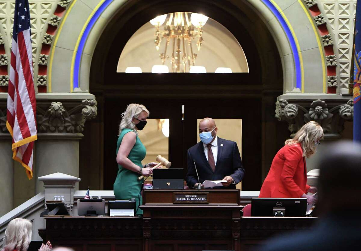 Speaker Carl Heastie presides over a mostly-virtual session during the first day of the 2021 legislative session on Wednesday, Jan. 6, 2021, in the Assembly Chamber at the Capitol in Albany, N.Y. (Will Waldron/Times Union)