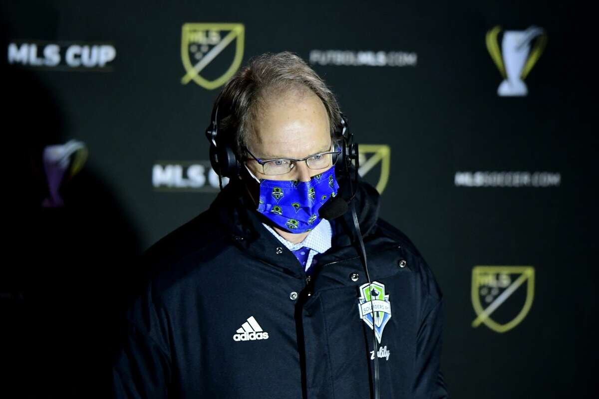COLUMBUS, OHIO - DECEMBER 12: Head coach Brian Schmetzer of the Seattle Sounders fields questions during an interview during the MLS Cup Final against the Columbus Crew at MAPFRE Stadium on December 12, 2020 in Columbus, Ohio. Columbus Crew won 3-0. (Photo by Emilee Chinn/Getty Images)