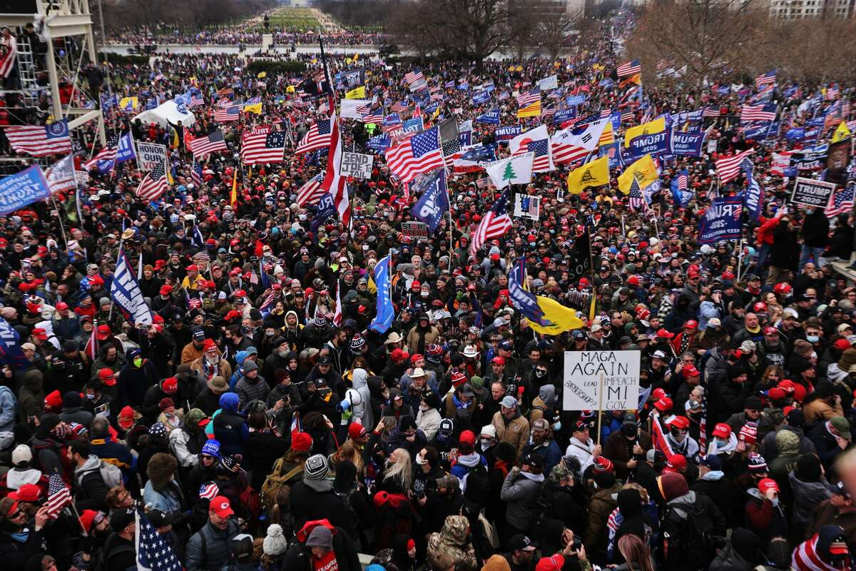 WASHINGTON, DC - JANUARY 06: Thousands of Donald Trump supporters gather outside the U.S. Capitol building following a