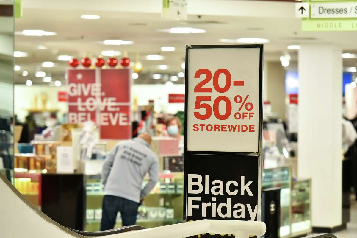 Black Friday 2020 shopping at a Macy's location in Massachusetts.