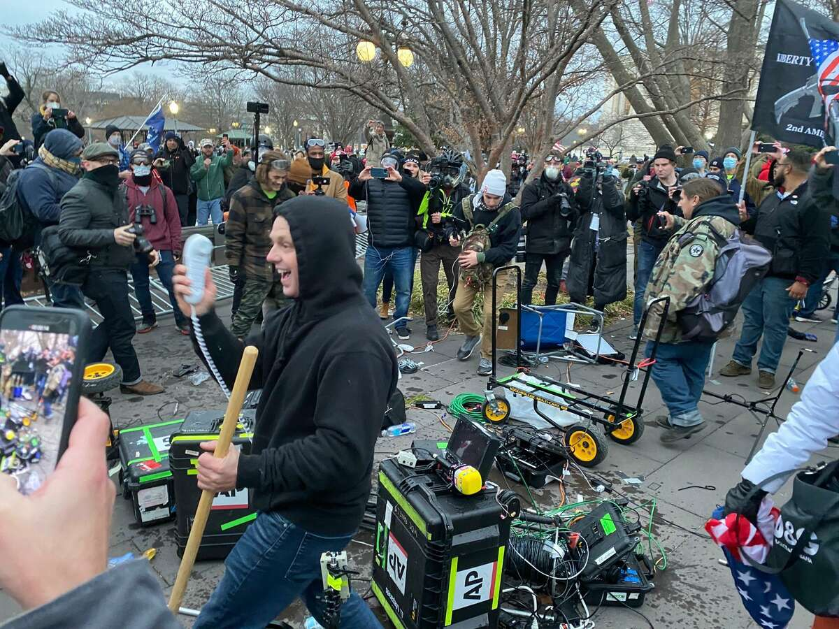 WASHINGTON D.C., USA - JANUARY 6: Equipment of media crews damaged during clashes after the US President Donald Trumps supporters breached the US Capitol security in Washington D.C., United States on January 06, 2021. Pro-Trump rioters stormed the US Capitol as lawmakers were set to sign off Wednesday on President-elect Joe Biden's electoral victory in what was supposed to be a routine process headed to Inauguration Day. (Photo by Tayfun Coskun/Anadolu Agency via Getty Images)