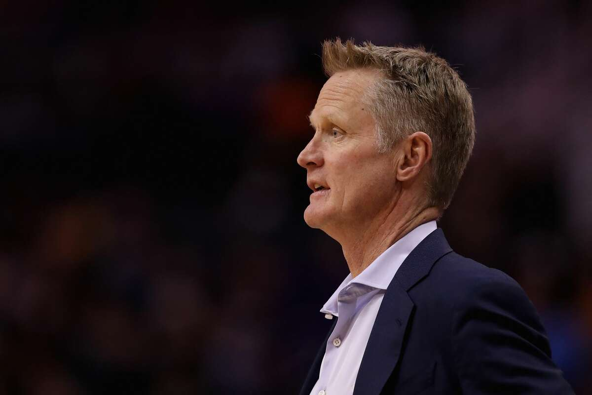 Head coach Steve Kerr of the Golden State Warriors watches from the bench against the Phoenix Suns at Talking Stick Resort Arena on Feb. 12, 2020, in Phoenix, Arizona.(Photo by Christian Petersen/Getty Images)