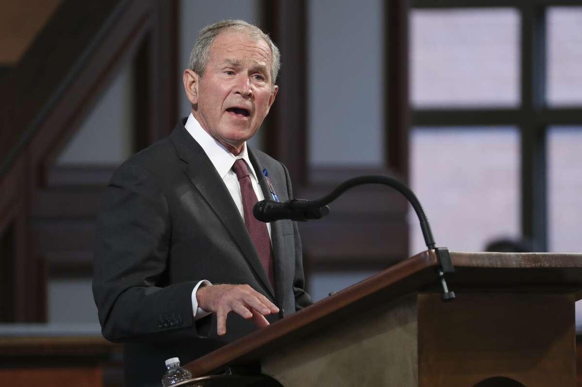 Former U.S. President George W. Bush speaks during the funeral service of the late Rep. John Lewis (D-GA) at Ebenezer Baptist Church on July 30, 2020 in Atlanta, Georgia.