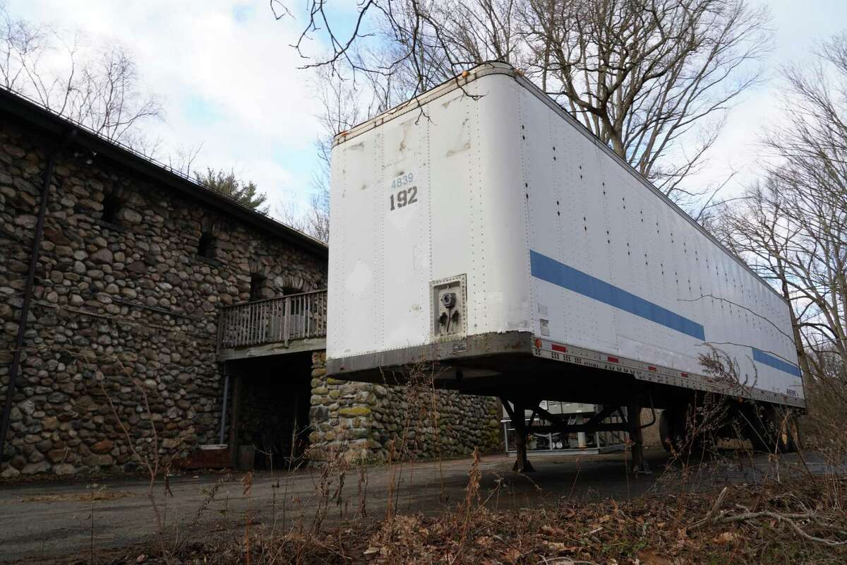Equipment for a skating rink has been delivered in New Canaan and is being stored in this unit behind the Carriage Barn.