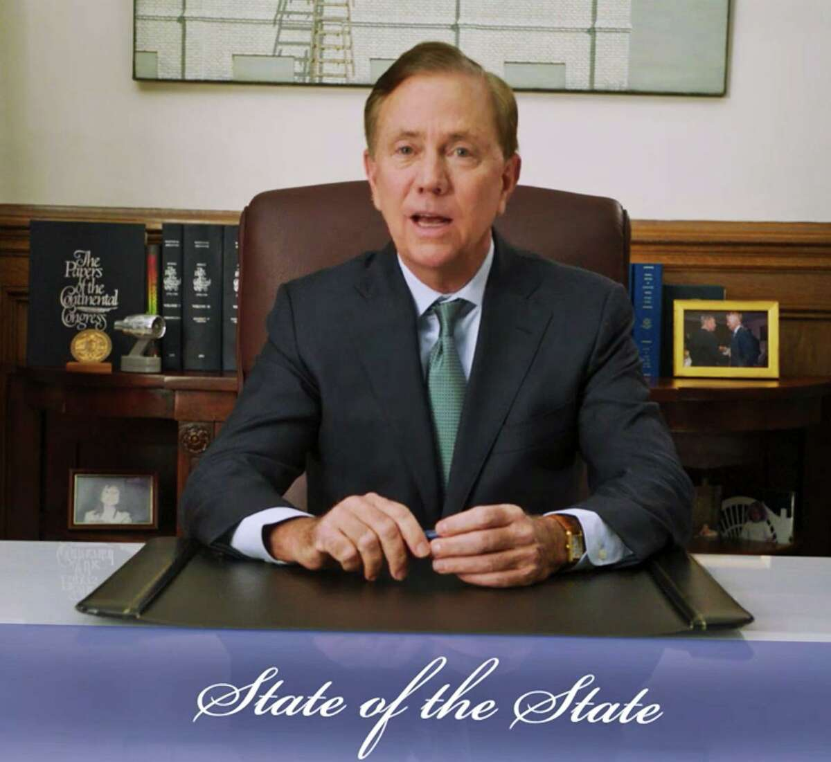 Connecticut Gov. Ned Lamont delivers his 2021 state of the state address from his office on Jan. 6.