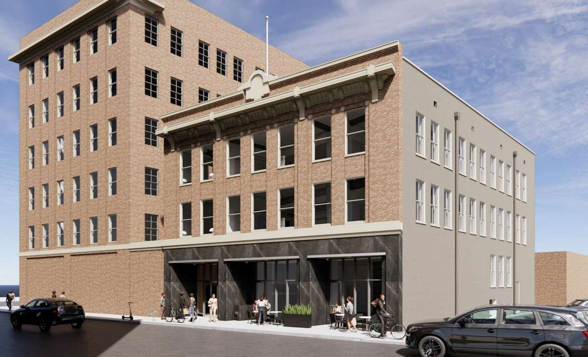 A rendering of 505 E. Travis St., which is being renovated to include short-term rental units and retail space.