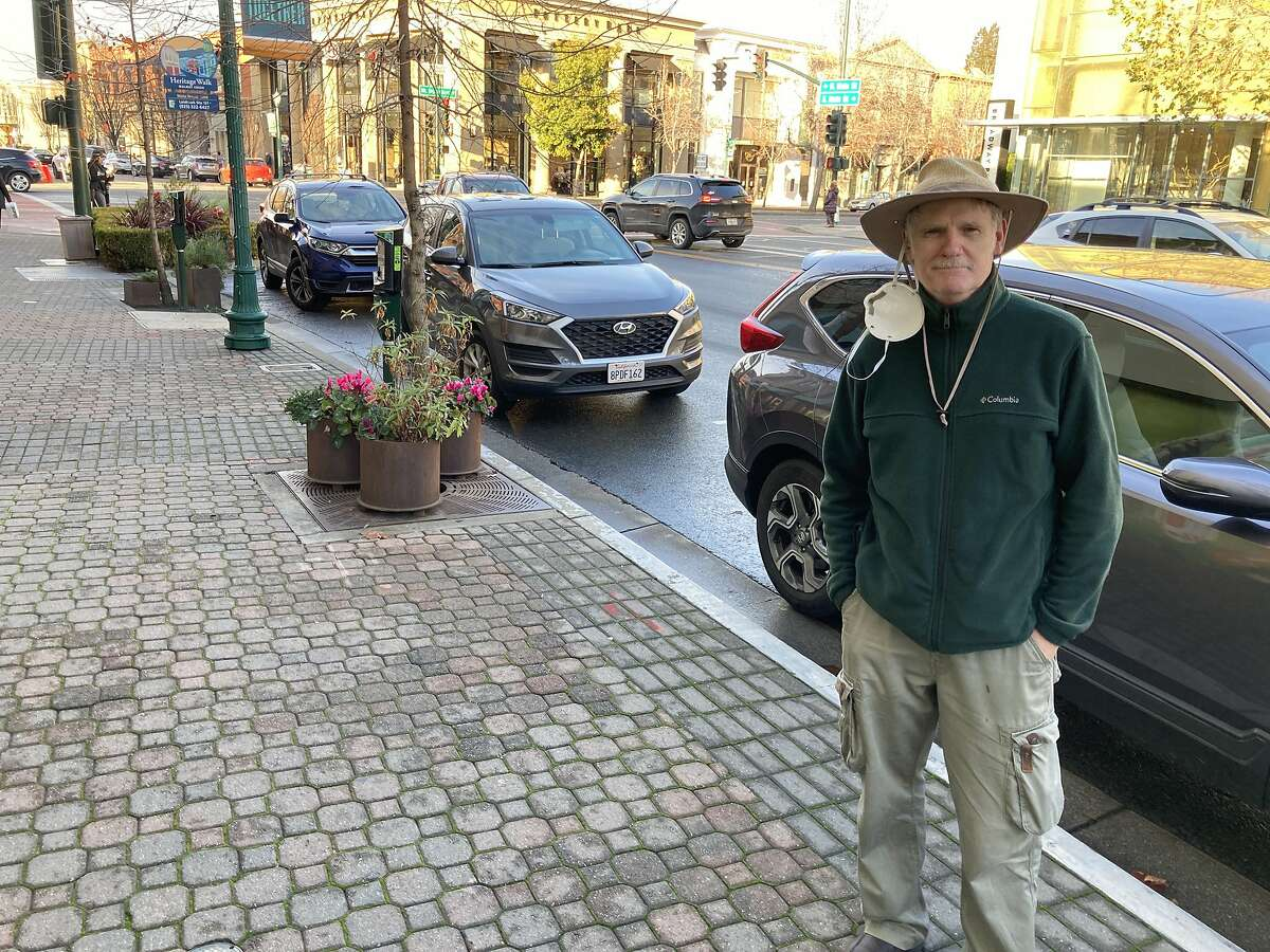 """Bill Fleck, 67, of Pleasanton, in downtown Walnut Creek. """"America is now in a crisis unlike any it has seen since the Civil War,"""" he said. """"There is such a polarization that the middle has evaporated."""""""