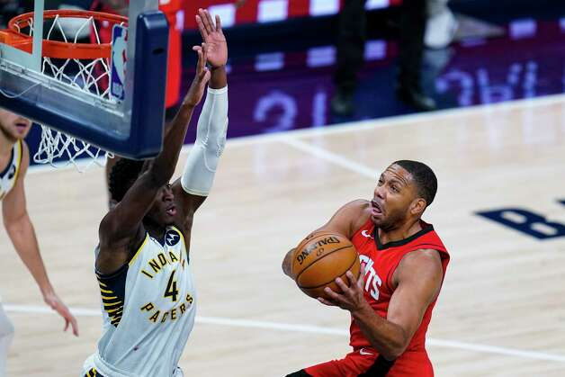Houston Rockets guard Eric Gordon (10) shoots over Indiana Pacers guard Victor Oladipo (4) during the third quarter of an NBA basketball game in Indianapolis, Wednesday, Jan. 6, 2021. (AP Photo/Michael Conroy) Photo: Michael Conroy, Associated Press / Copyright 2021 The Associated Press. All rights reserved.