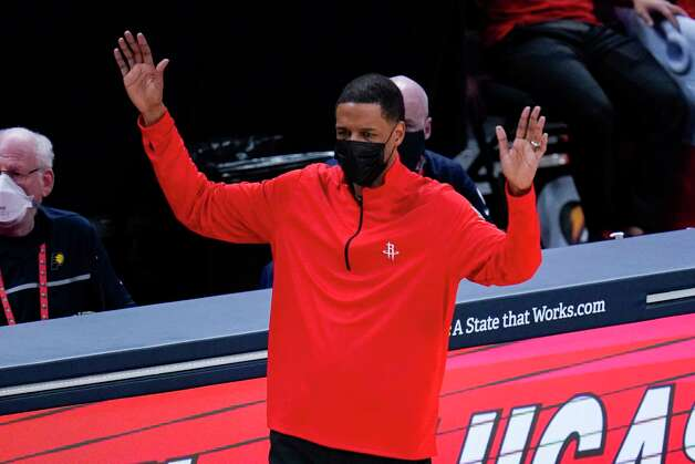 Houston Rockets head coach Stephen Silas gestures during the second quarter of an NBA basketball game against the Indiana Pacers in Indianapolis, Wednesday, Jan. 6, 2021. (AP Photo/Michael Conroy) Photo: Michael Conroy, Associated Press / Copyright 2021 The Associated Press. All rights reserved.