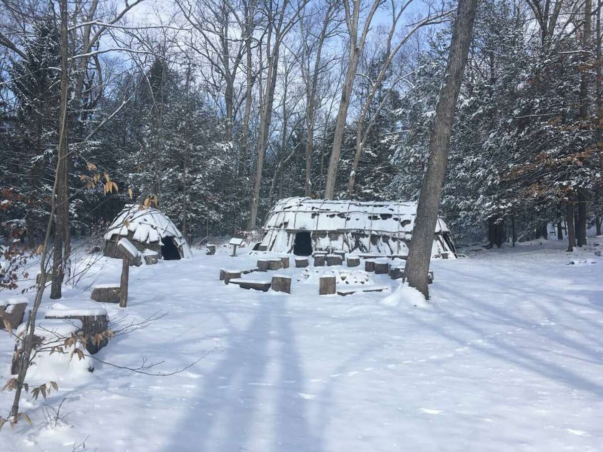 The site of an Institute for American Indian Studies winter survival event in 2019.