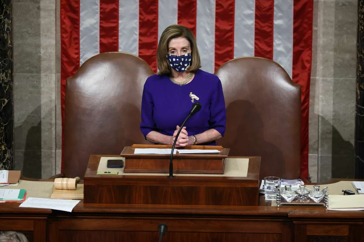 Speaker of the House Nancy Pelosi (D-CA) reconvenes a joint session of Congress on January 6, 2021 in Washington, DC. Congress has reconvened to ratify President-elect Joe Biden's 306-232 Electoral College win over President Donald Trump, hours after a pro-Trump mob broke into the U.S. Capitol and disrupted proceedings.