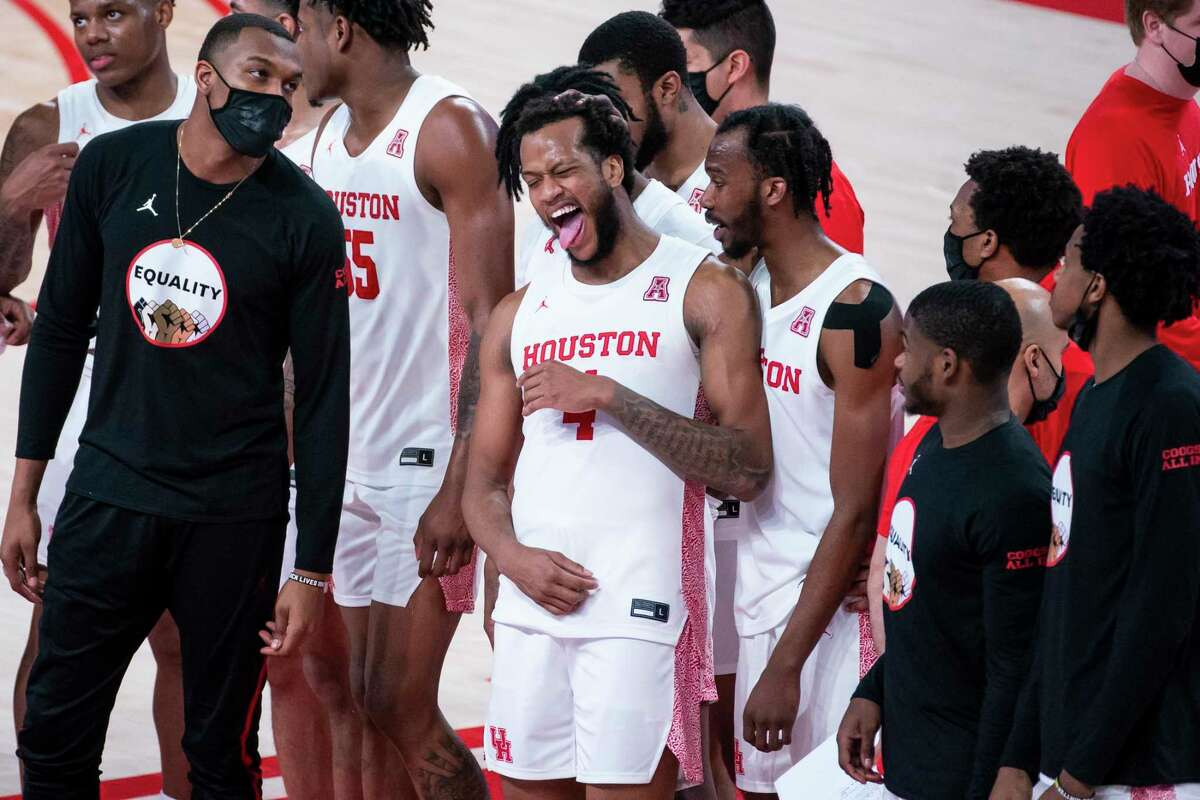 Houston Cougars forward Justin Gorham (4) laughs as he lines up with teammates following the second half of the University of Houston Cougars' 70-63 win over the Wichita State Shockers on Wednesday, Jan. 6, 2021, at the Feritta Center in Houston.