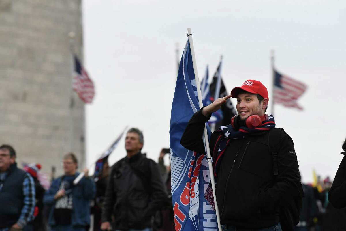 Supporters of President Donald Trump gather near the Washington Monument on Wednesday.