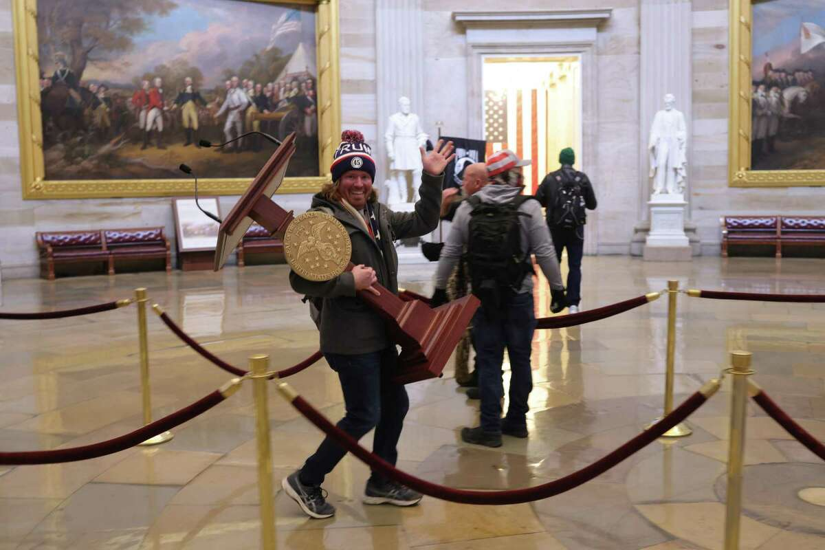 Protesters enter the U.S. Capitol Building on Jan. 6, 2021 in Washington, D.C. Congress held a joint session today to ratify President-elect Joe Biden's 306-232 Electoral College win over President Donald Trump.
