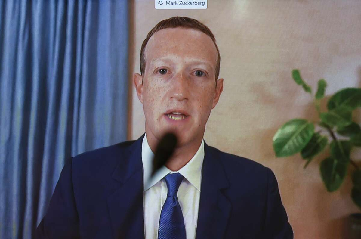 Facebook CEO Mark Zuckerberg testifies remotely during a Senate Judiciary Committee hearing titled on Capitol Hill on November 17, 2020 in Washington, DC.