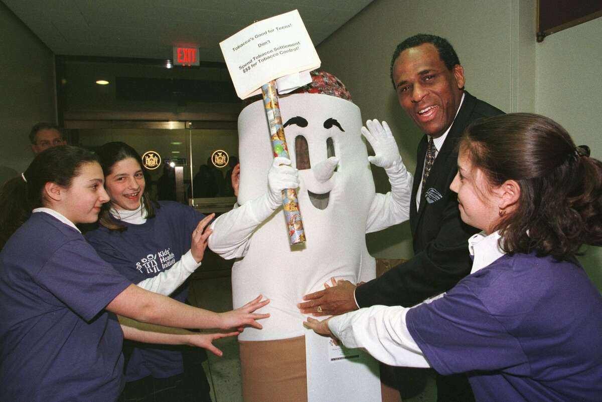 At a Kids Health conference held in Albany in 1999, Elise Stefanik, far right, fights off 'Butt Man' with NYS Comptroller H. Carl McCall and fights Albany Academy For Girls students Genevieve Burger-Weiser and Caroline Feinberg. (Times Union archive photo)