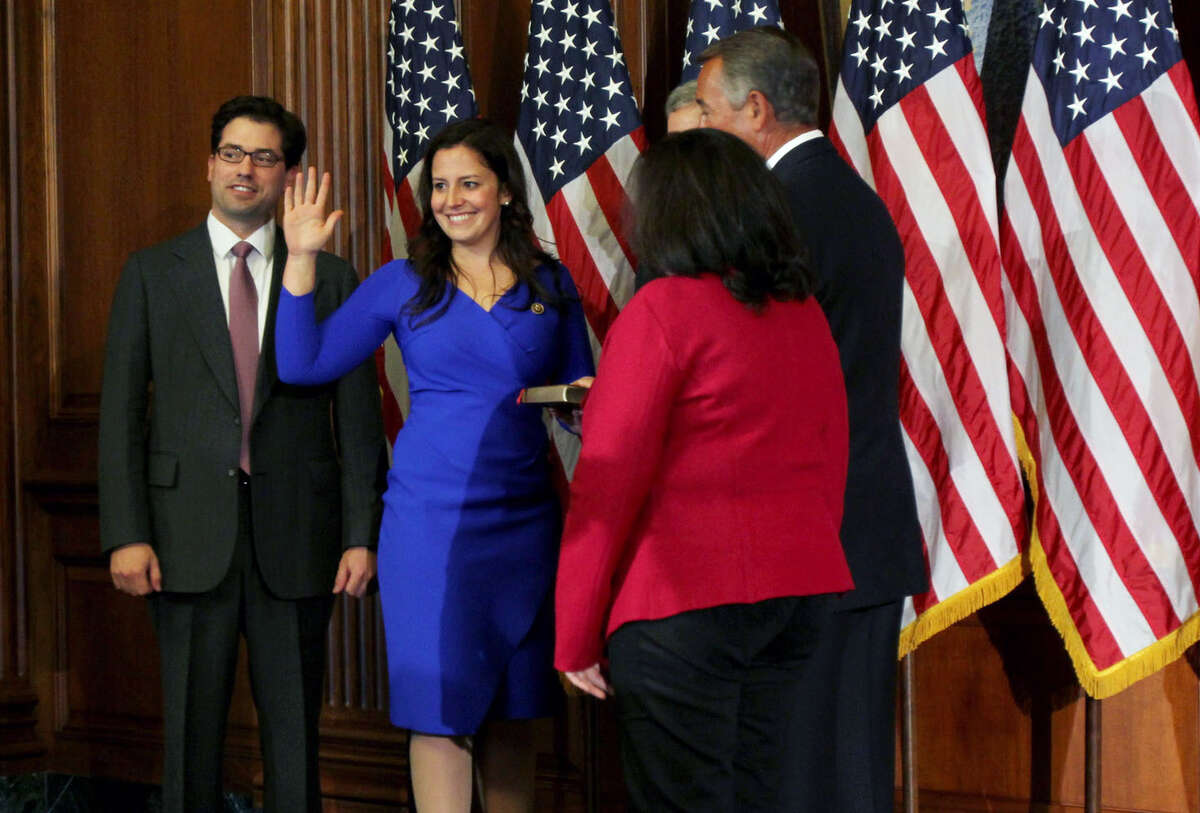 U.S. Rep. Elise Stefanik, R-N.Y., is sworn in by House Speaker John Boehner of Ohio during ceremonial re-enactment swearing-in Tuesday, Jan. 6, 2015, on Capitol Hill in Washington DC. At 30 years old, she is the youngest woman ever elected to the House of Representatives. (Connor Radnovich/Times Union)