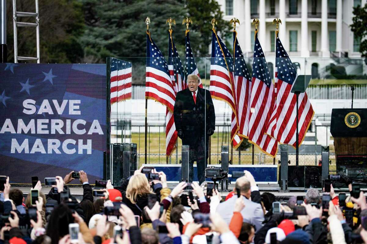 President Donald Trump delivers an incendiary speech to thousands of his supporters near the White House in Washington, Jan. 6, 2021. The mob in Washington attempting to disrupt the peaceful transition of American power also posed a threat to all democracies. (Pete Marovich/The New York Times)