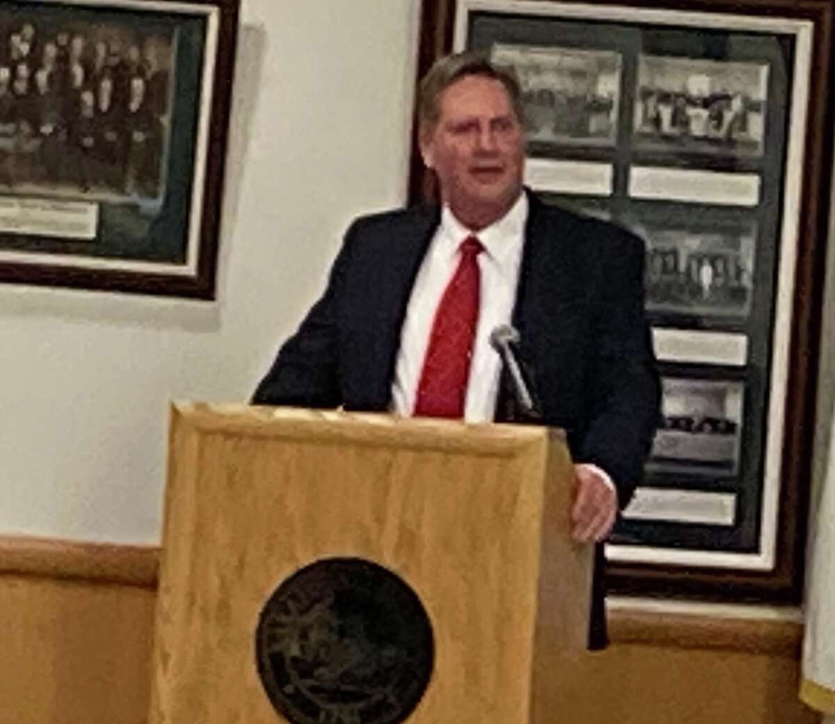 Moreau Supervisor Todd Kusnierz is Saratoga County's new chair of the Board of Supervisors. He speaks in a short speech on Wednesday, Jan. 6, at the Saratoga County Board of Supervisor's room in Ballston Spa.