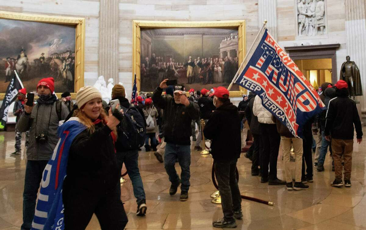 Supporters of President Donald Trump storm the U.S. Capitol's Rotunda on Jan. 6, 2021, in Washington, D.C.