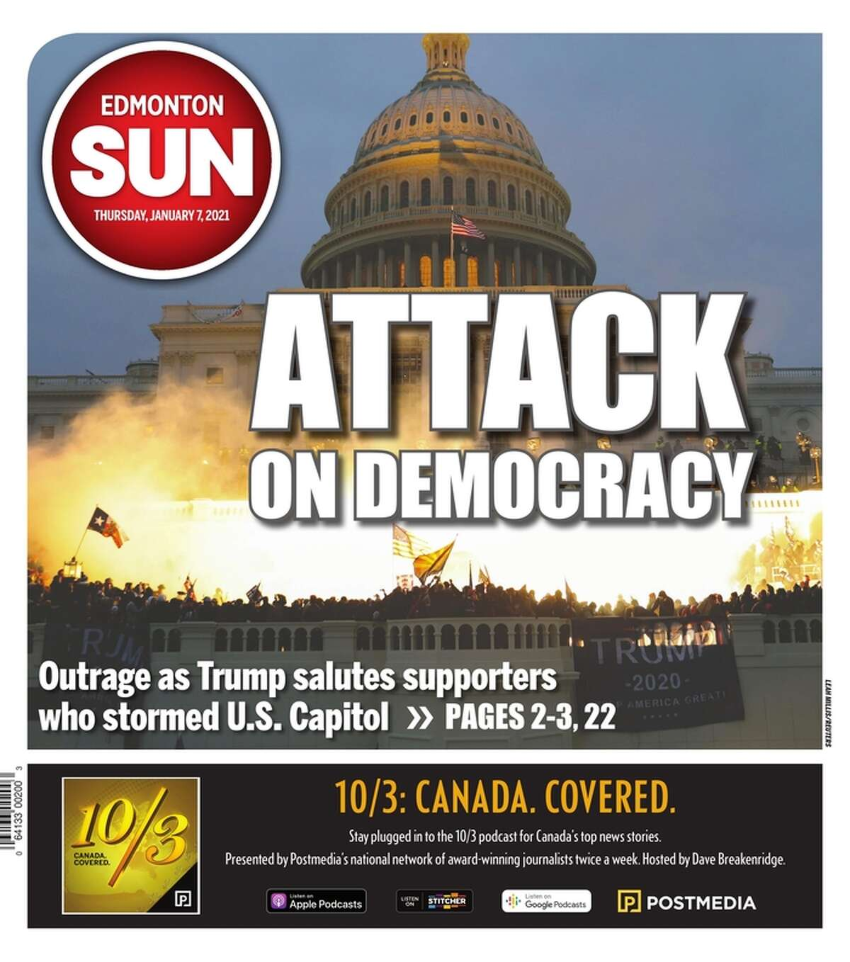 The Jan. 7 front page of the Edmonton Sun from Edmonton, Canada.