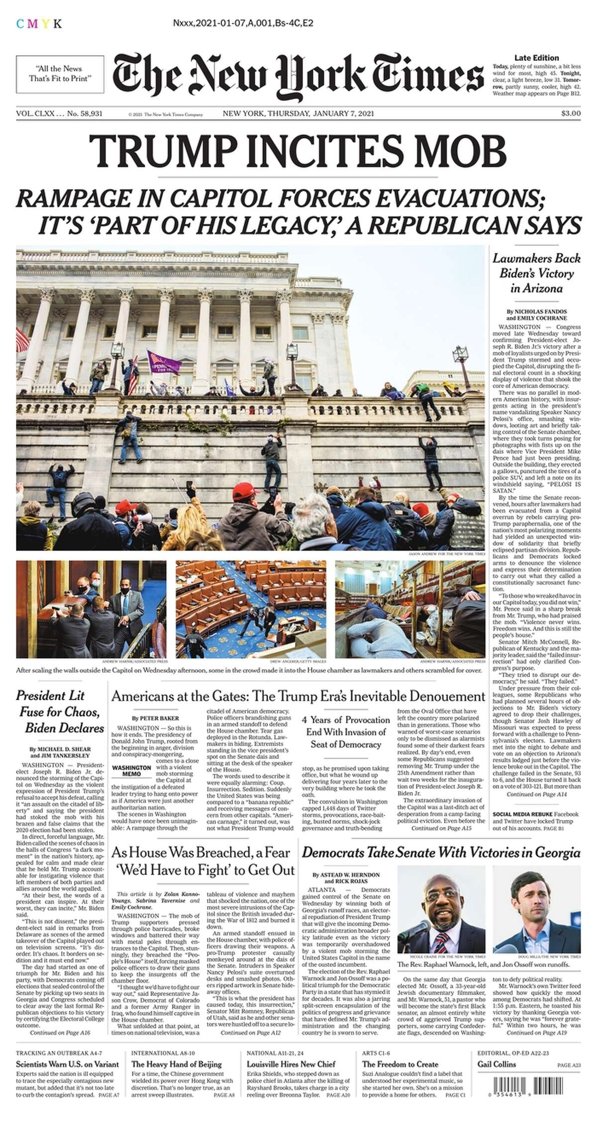 The Jan. 7 front page of the New York Times.