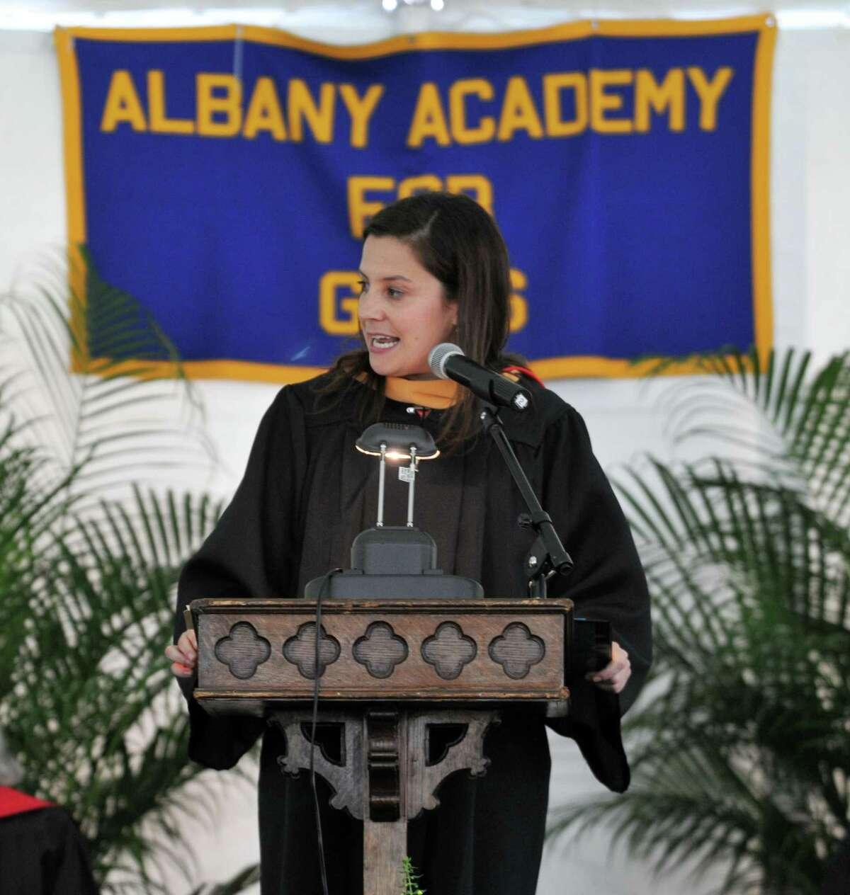 Congresswoman and Albany Academy for Girls alumna, Elise Stefanik, delivers the commencement address during graduation on Monday, June 13, 2016, in Albany, N.Y.
