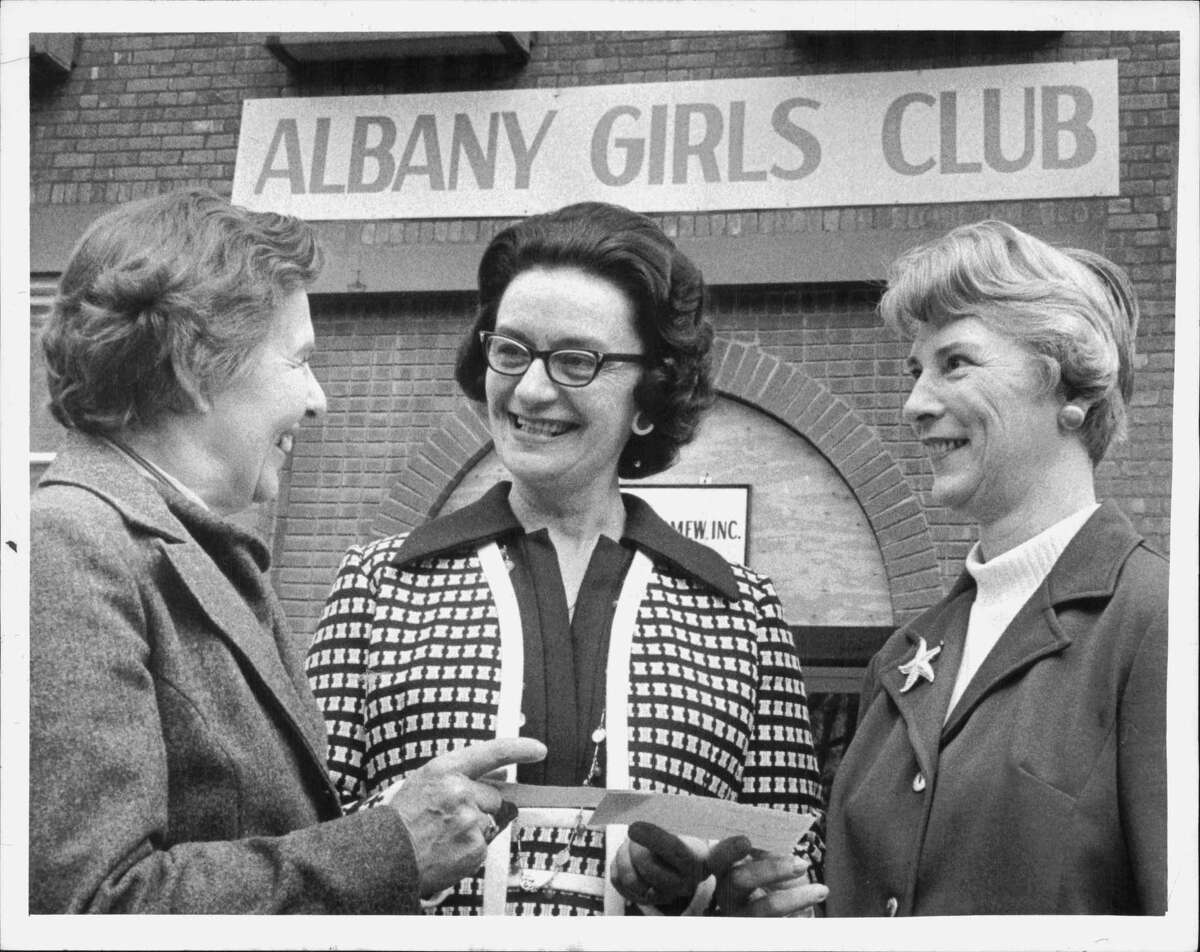 Ruth Walsh, Albany Girls Club, and Other Women, New York. Mrs. Jeannette Walsh, president Zonta Club of Albany; Mrs. Ruth B. Walsh Undated (no relation), president of Albany Girls Club; Frances G. George, president PBW. April 20, 1973 (Roberta Smith/Times Union Archive)