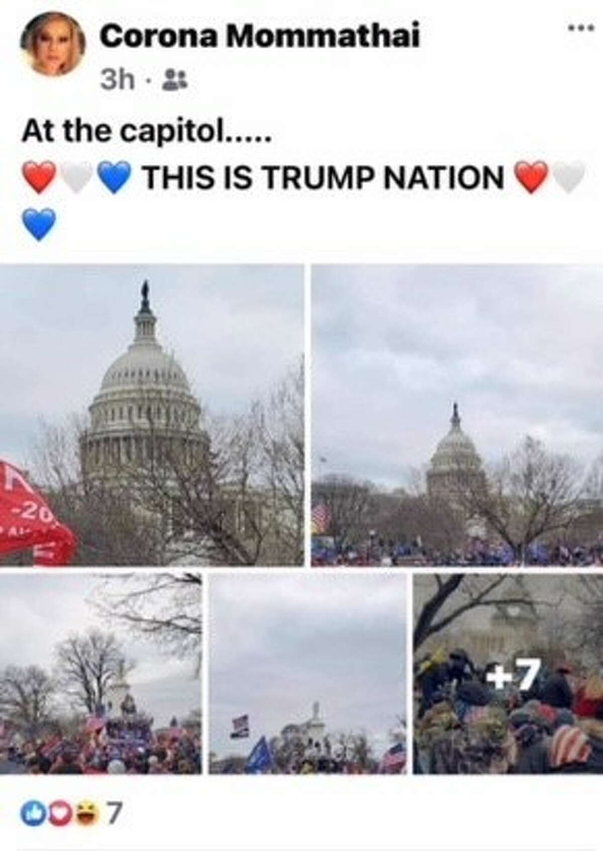 Screenshots from the Facebook page of Bexar County Lt. Roxanne Mathai. The 46-year-old is being investigated after she posted photos that show her at the Capitol protests that turned deadly Wednesday in Washington, D.C.