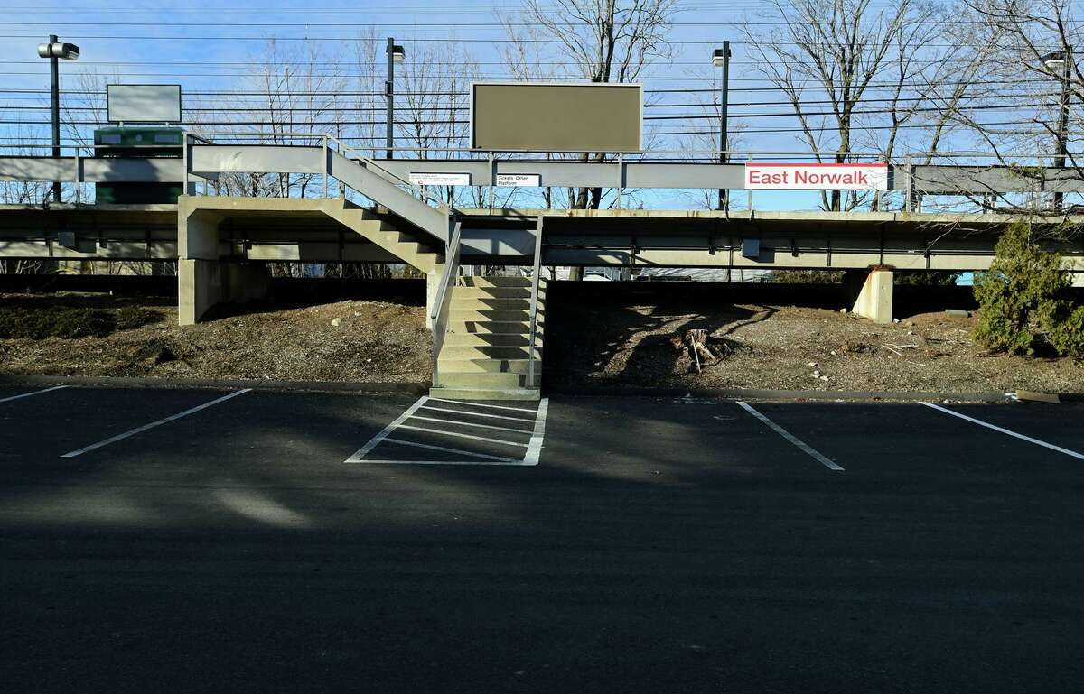 Empty parking spaces at the East Norwalk Train Railroad Station Wednesday, January 6, 2020, in Norwalk, Conn.