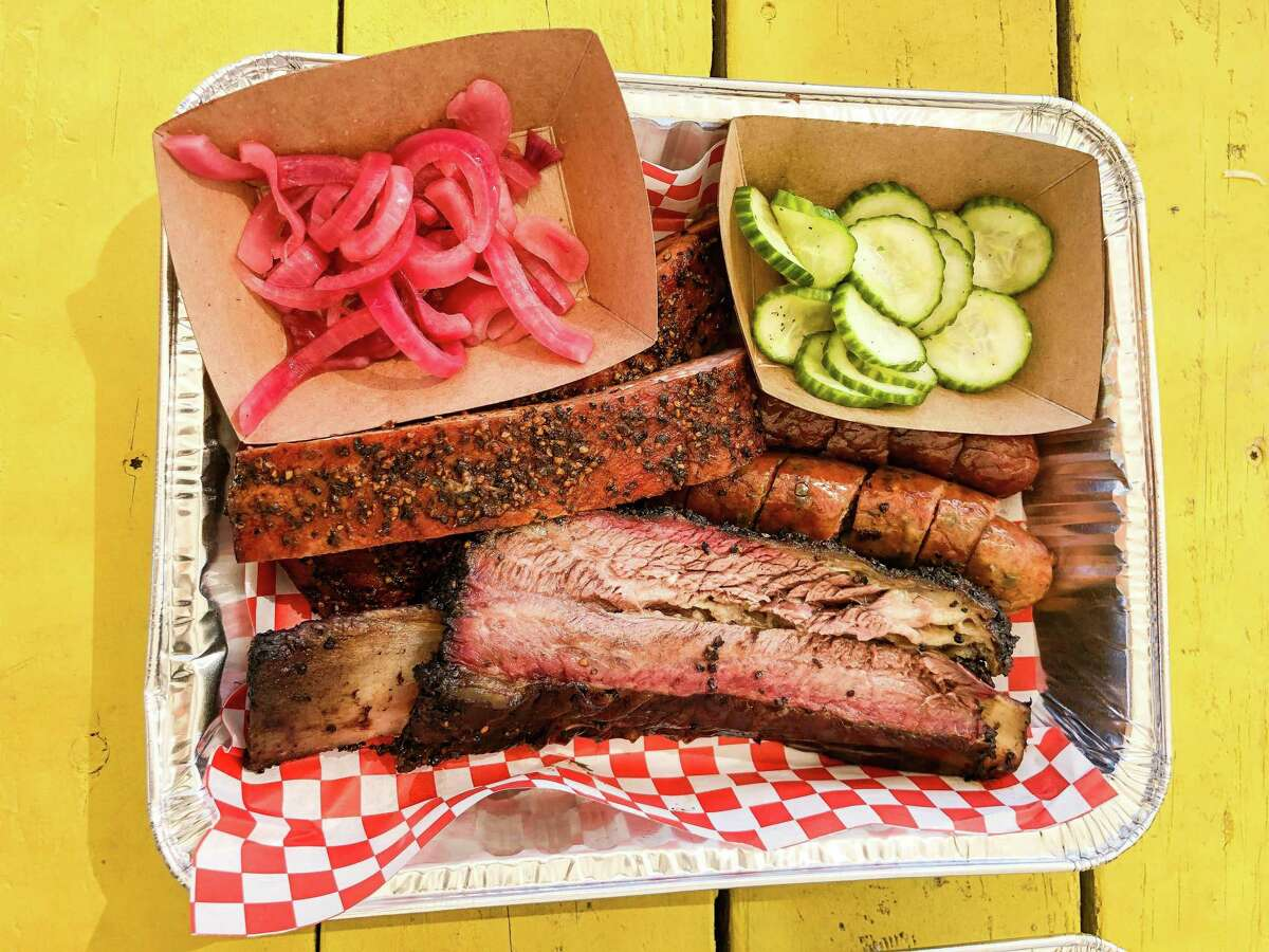 Tray of barbecue from Big Daddy Karne Tex-Mex BBQ