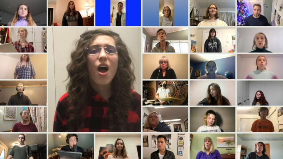 "A virtual choir sings ""Seasons of Love"" as part of West Shore Community College's virtual choir and wind symphony concert presented as part of the college's Living Room Series. There were 155 submissions made to the project. Photo: Screenshot/Vimeo"