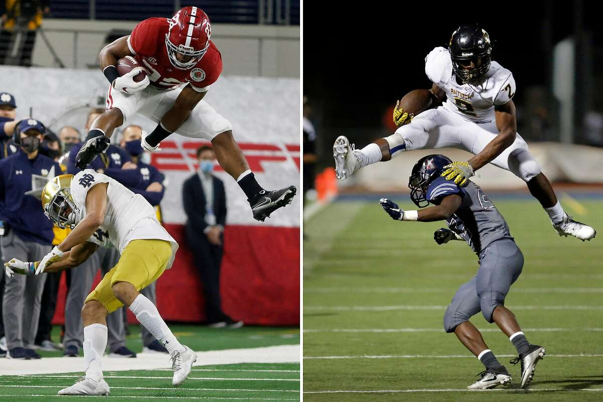 Alabama running back Najee Harris (22), left, hurdles Notre Dame cornerback Nick McCloud as he carries the ball for a 53-yard gain in the first half of the Rose Bowl on January 1. On the right, during his Antioch High days, Harris vaults over Freedom's Jared Rodgers on Oct 7, 2016, in Oakley, California.