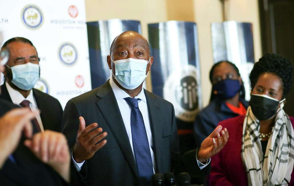 Houston Mayor Sylvester Turner speaks at the city's first vaccination clinic Jan. 2. The clinic will move to Minute Maid Park on Saturday and is open only to those with appointments.