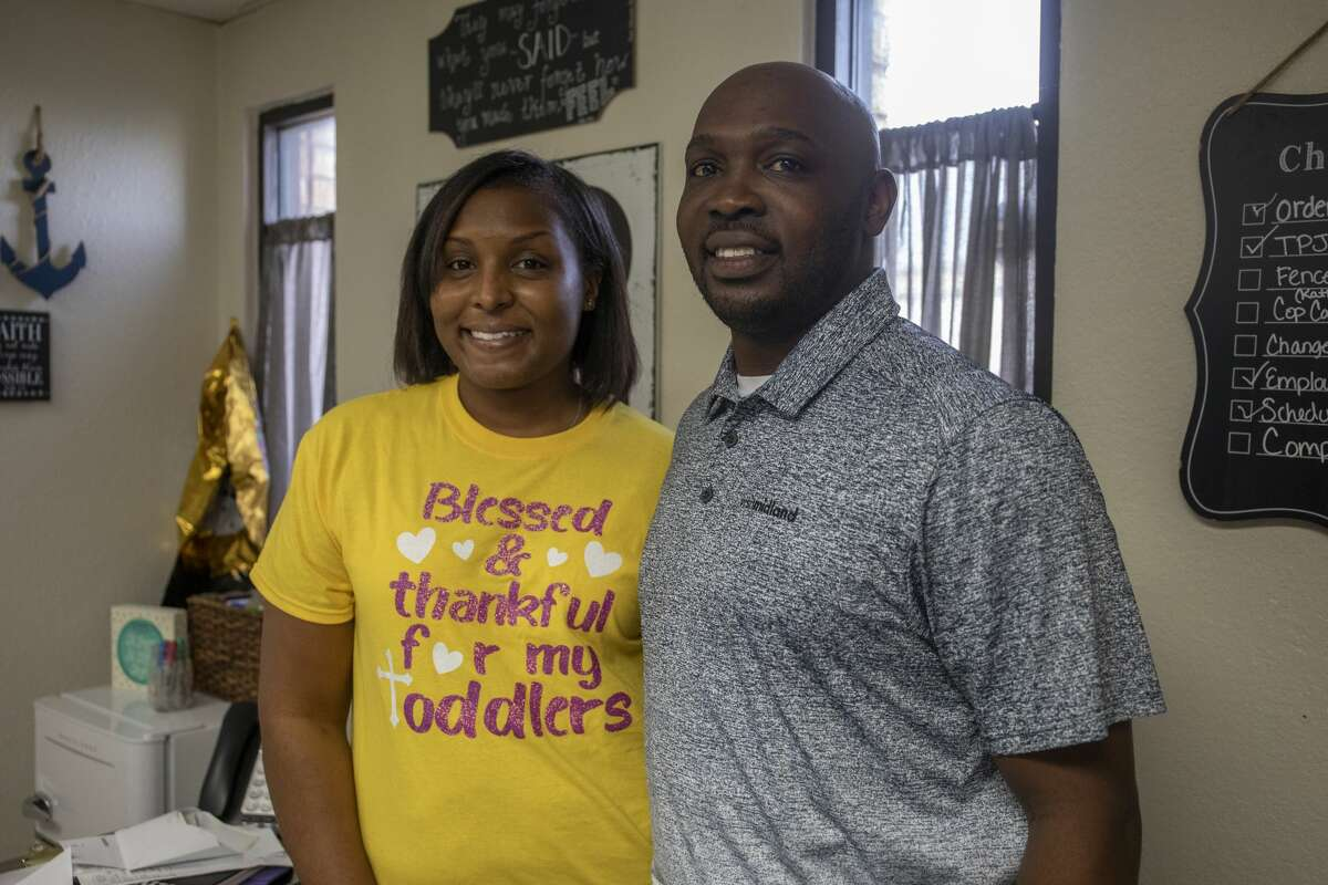 Latoya Mayberry and Edward Mayberry pose for a portrait Tuesday, Jan. 5, 2021 at Toya's Precious Jewels Academy. Jacy Lewis/Reporter-Telegram