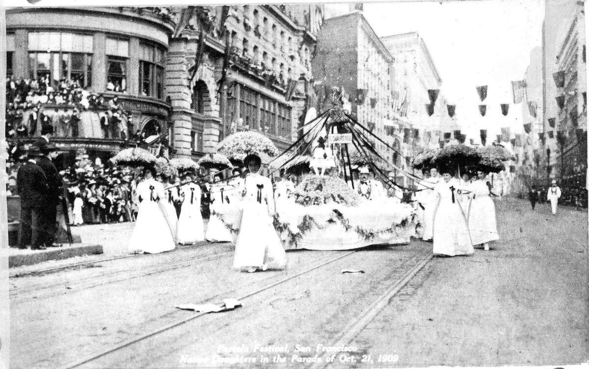 Participants in a Portola Festival parade in San Francisco on Oct. 21, 1909.