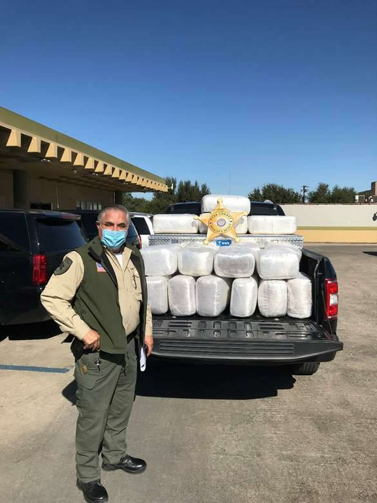 Webb County Sheriff Martin Cuellar said deputies seized these 635 pounds of marijuana following a brief pursuit with a vehicle. The driver abandoned the contraband and swam across into Mexico.