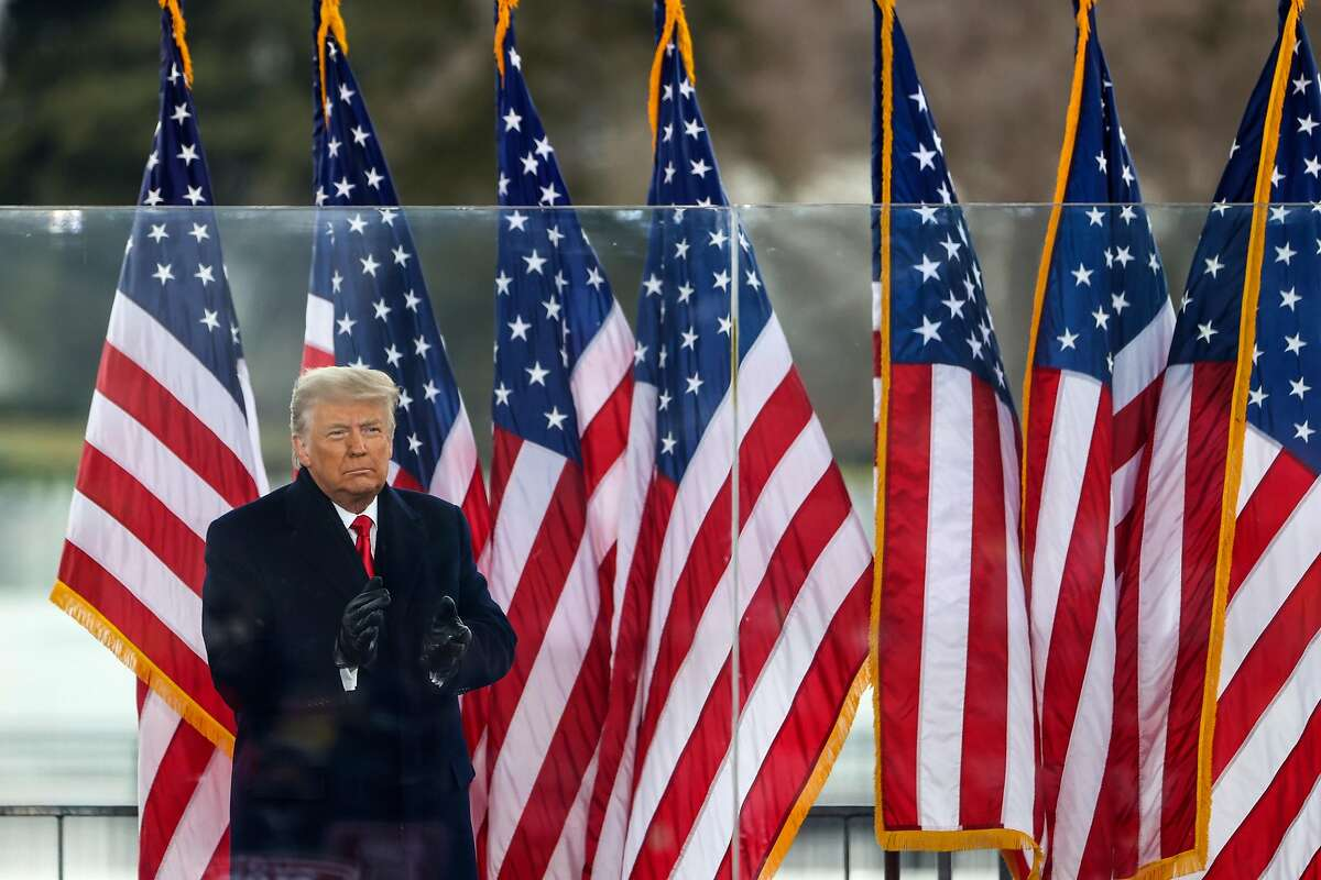 """President Donald Trump greets the crowd at the """"Stop the Steal"""" rally on Jan. 6."""