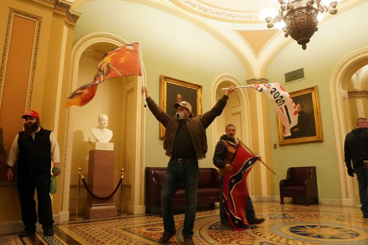 Trump supporters inside the Capitol in Washington on Wednesday, Jan. 6, 2021, after storming barricades. As America's European allies digested events that rocked Washington, many expressed faith in the strength of U.S. democracy to prevail. (Erin Schaff/The New York Times)