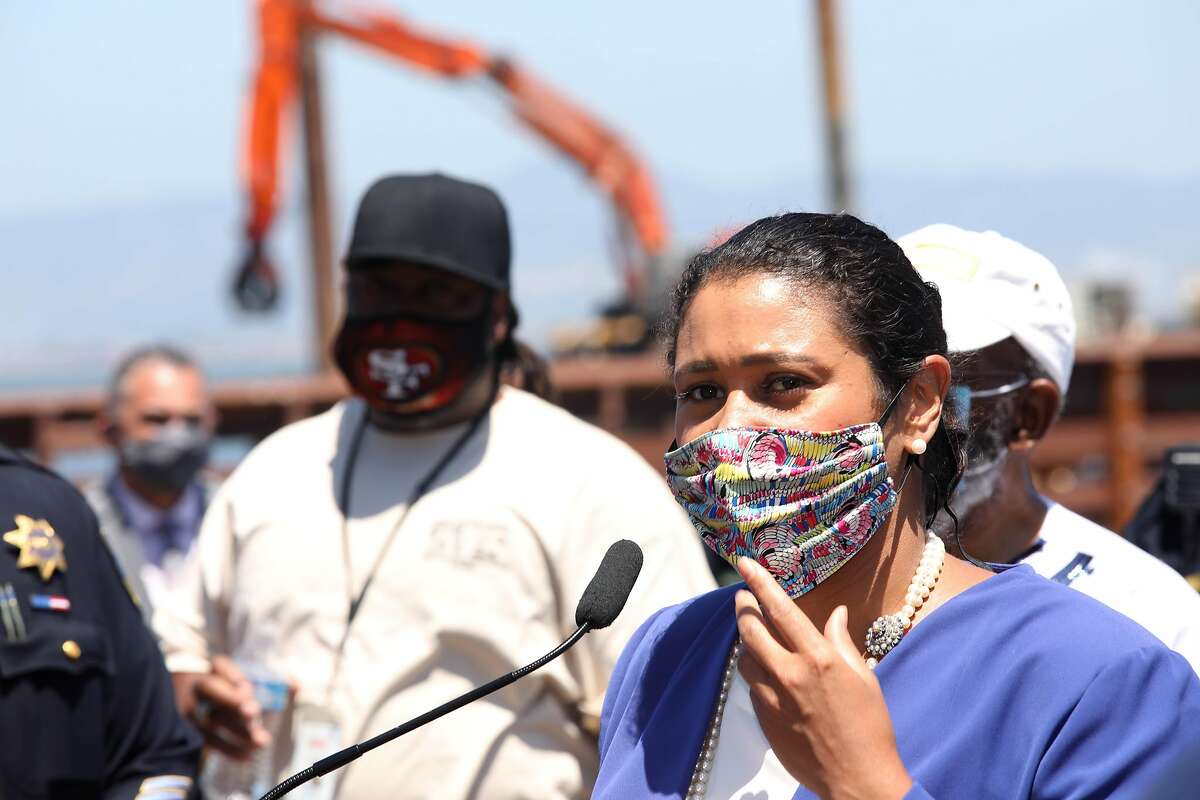 San Francisco Mayor London Breed speaks during a press conference at Agua Vista Park in San Francisco on July 7.
